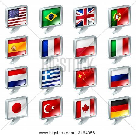 Flag Speech Bubble Icons Buttons