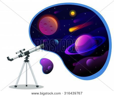 Isometric Astronomical Observatory Dome. Astronomical Telescope Tube And Cosmos. Astronomer Looking