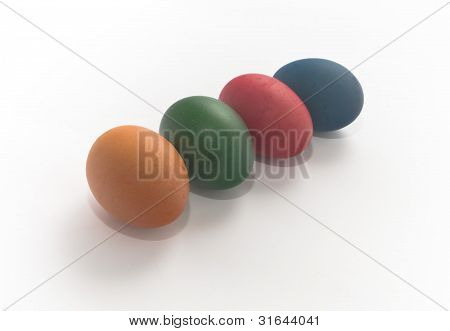 Four Multi-coloured Painted Eggs Easter