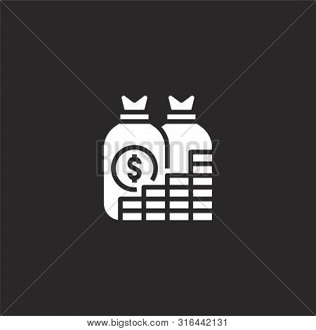 Revenue Icon. Revenue Icon Vector Flat Illustration For Graphic And Web Design Isolated On Black Bac