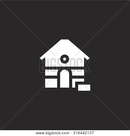 poster of Dog house icon. Dog house icon vector flat illustration for graphic and web design isolated on black background from dogs collection. Dog house icon trendy and modern Dog house symbol for logo, web, app, UI. Dog house icon simple sign.