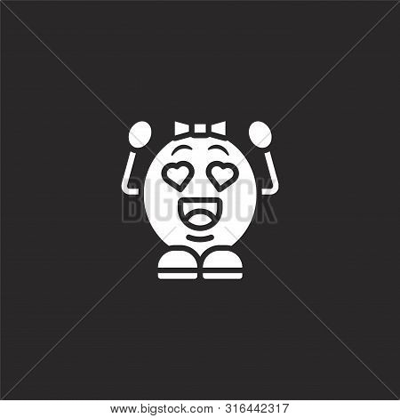 Love Icon. Love Icon Vector Flat Illustration For Graphic And Web Design Isolated On Black Backgroun