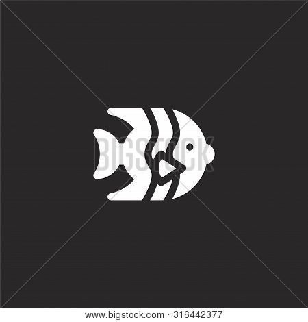 Angelfish Icon. Angelfish Icon Vector Flat Illustration For Graphic And Web Design Isolated On Black
