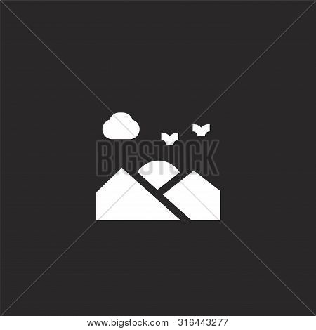 Sunset Icon. Sunset Icon Vector Flat Illustration For Graphic And Web Design Isolated On Black Backg