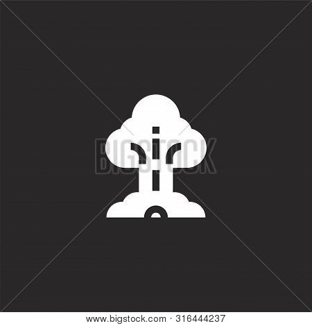 Nuclear Bomb Icon. Nuclear Bomb Icon Vector Flat Illustration For Graphic And Web Design Isolated On