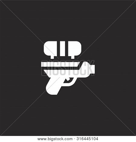 Water Gun Icon. Water Gun Icon Vector Flat Illustration For Graphic And Web Design Isolated On Black