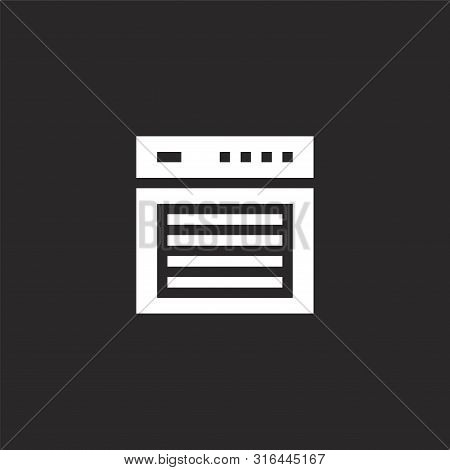 Oven Icon. Oven Icon Vector Flat Illustration For Graphic And Web Design Isolated On Black Backgroun