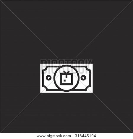 Money Icon. Money Icon Vector Flat Illustration For Graphic And Web Design Isolated On Black Backgro