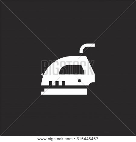 Iron Icon. Iron Icon Vector Flat Illustration For Graphic And Web Design Isolated On Black Backgroun