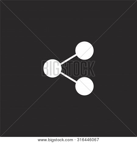 Share Icon. Share Icon Vector Flat Illustration For Graphic And Web Design Isolated On Black Backgro