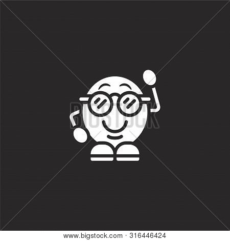 Nerd Icon. Nerd Icon Vector Flat Illustration For Graphic And Web Design Isolated On Black Backgroun
