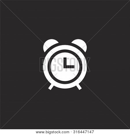 Alarm Clock Icon. Alarm Clock Icon Vector Flat Illustration For Graphic And Web Design Isolated On B