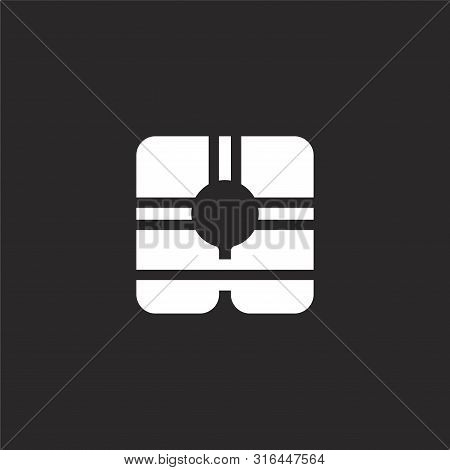 Life Vest Icon. Life Vest Icon Vector Flat Illustration For Graphic And Web Design Isolated On Black