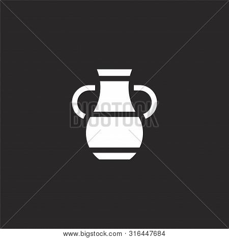 Vase Icon. Vase Icon Vector Flat Illustration For Graphic And Web Design Isolated On Black Backgroun