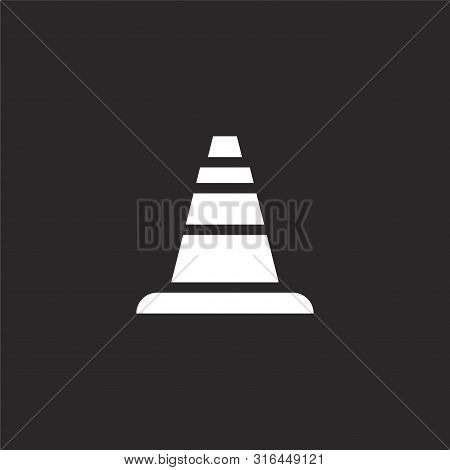 Cone Icon. Cone Icon Vector Flat Illustration For Graphic And Web Design Isolated On Black Backgroun