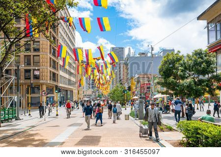 Bogota Colombia August 6 The Seventh Street In The Center Of Bogota  Is Full Of Life And Every Day T