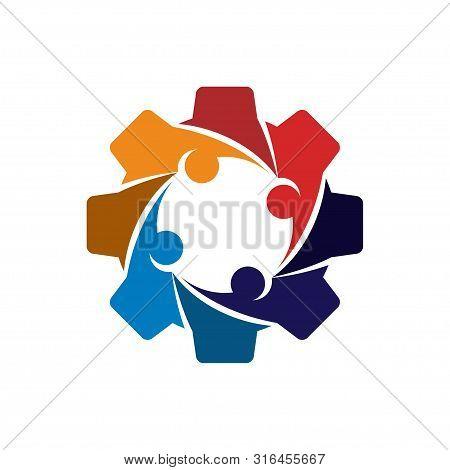 Gear Team Work Business Logo Design Template Vector Icon