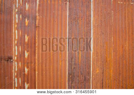 Old Zinc Rust Texture Background, Close Up To Pattern Texture Vertical Zinc Sheet. Abstract  Image O