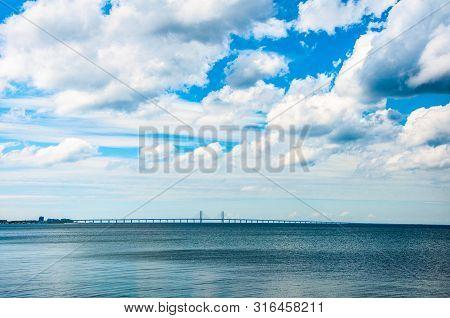 Oresund Bridge Between Copenhagen And Malmo Cities