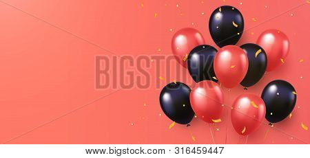 Celebration, Festival Coral Color Background With Helium Balloons. Greeting Banner Or Poster With Co