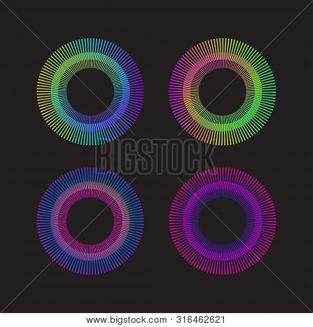 Gradient Rainbow Circle Sunburst. Color Sunbeams. Frame With Rays.vector Graphic Design