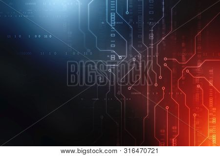 Binary Code Background, Digital Abstract Futuristic Technology Background, Flowing Number One And Ze
