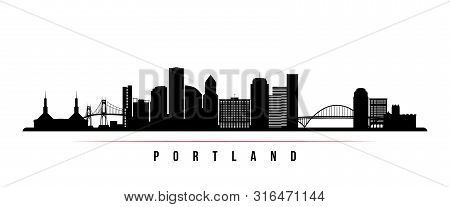 Portland City Skyline Horizontal Banner. Black And White Silhouette Of Portland City, Oregon. Vector