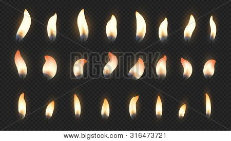 Candle Flame. Realistic Fire Light Effects For Birthday Cake Burning Candle. Vector Candlelight Set