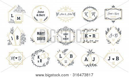 Wedding Logos. Bohemian Monograms For Event Invitation And Wedding Greeting Cards With Hand Drawn El