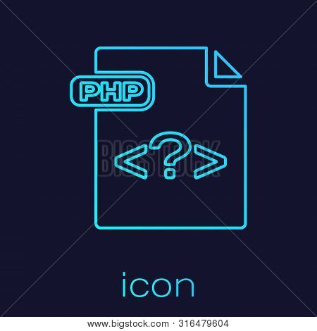 Turquoise Line Php File Document. Download Php Button Icon Isolated On Blue Background. Php File Sym