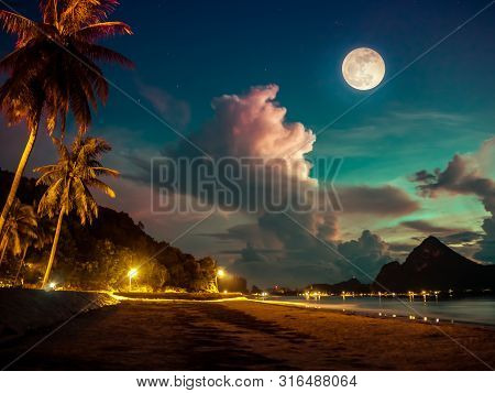 Beautiful View Of The Sea. Colorful Blue Sky With Cloud And Bright Full Moon On Seascape To Night. S