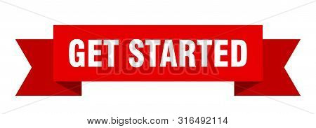 Get Started Ribbon. Get Started Isolated Sign. Get Started Banner