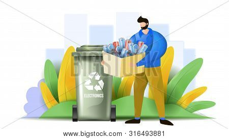 A Man Is Sorting The Electronic Waste. Flat Vector Illustration Showing E-waste Design Concept.