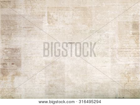 Vintage Grunge Newspapers Paper Background. Blurred Old Newspaper Texture. A Blur Unreadable Aged Ne