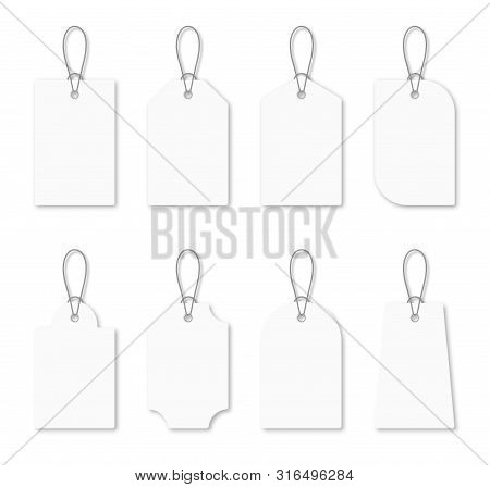 Set Of Blank White Tags With Rope. White Shopping Labels And Price Tags In Different Shapes. Mockup