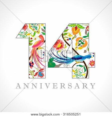 14 Years Old Logotype. 14 Th Anniversary Numbers. Decorative Symbol. Age Congrats With Peacock Birds
