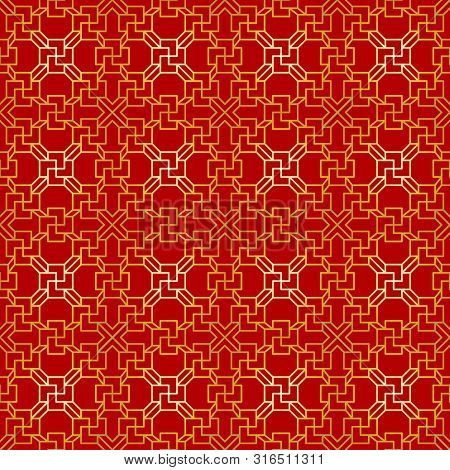 Red And Golden Chinese Traditional Pattern Collection. Abstract Asian Background. Decorative Chinese