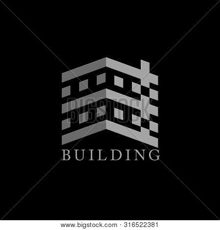 Tall Building Geometric Design Logo Vector Unique Unusual  Simple Design Concept