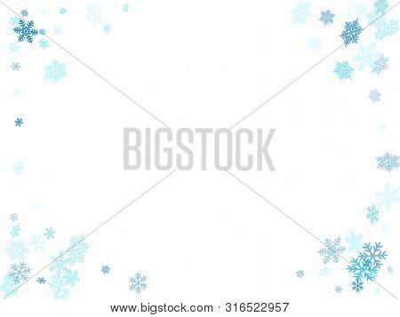 Winter Snowflakes Border Magic Vector Background.  Macro Snow Flakes Flying Border Illustration, Car