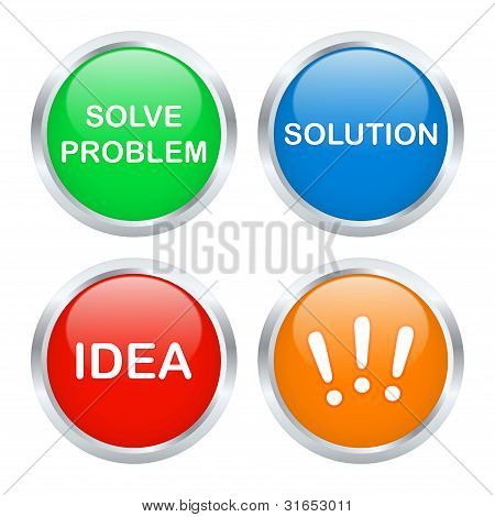 Solution Buttons Set. Vector Illustration