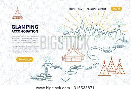 Glamping Accomodation - Landing Page Template With Place For Text. Adventure Map For Tourist Hiking