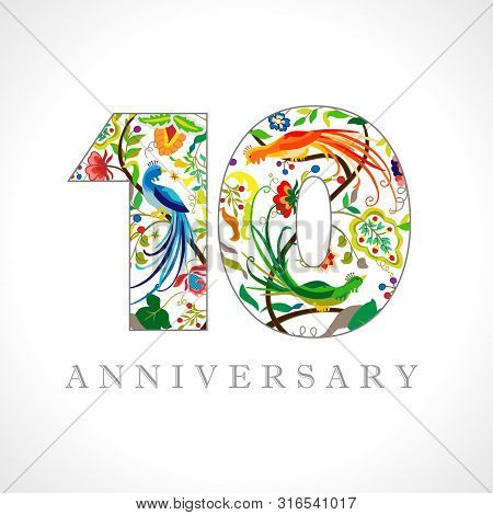 10 Years Old Logotype. 10 Th Anniversary Numbers. Decorative Symbol. Age Congrats With Peacock Birds