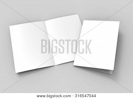 Half-fold Brochure Blank White Template For Mock Up And Presentation Design. 3d Illustration.