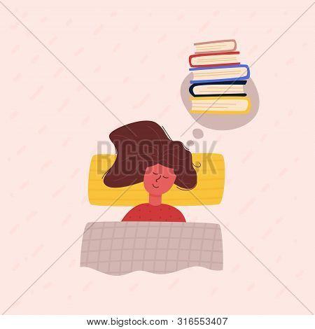 Image Sleeping Girl With Long Chestnut Hair Lying Under Checkered Blanket On Pillow, Dreaming, Remem