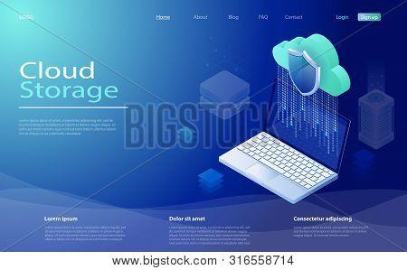 Cloud Computing Technology Users Network. Cloud Computing Service, Storage Network Servers. Digital
