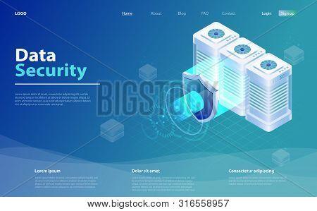 Big Data Flow Processing Data Protection Concept. Cloud Database, Web Hosting Server Room. Isometric