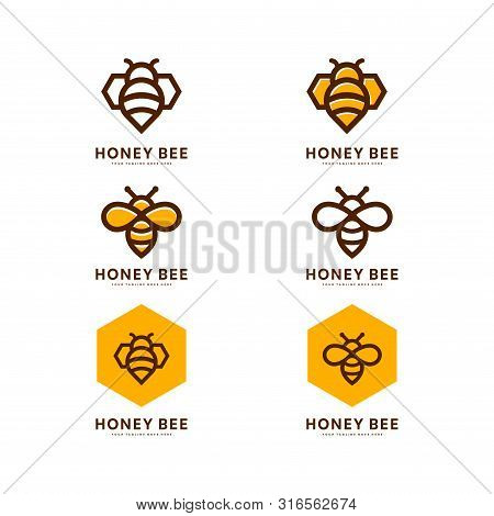 Honey Bee Set. Vector. Set Of Honey And Bee Labels For Honey Logo Products. Isolated Insect Icon. Fl