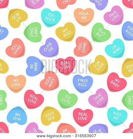 Candies Seamless Hearts Pattern. Colorful Candy, Sweets Heart For Valentine Day Love Writings, Sweet