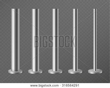 Metal Pillars. Steel Poles For Urban Advertising Banners, Streetlight And Billboard. Steel Columns I