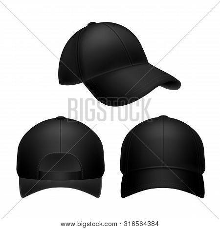 Black Baseball Cap. Empty Hat Mockup, Headwear Caps In Back, Front And Side View. Corporate Uniform